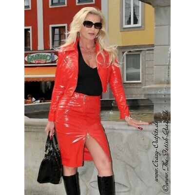 Crazy Outfits Jupe Vinyl PVC Rouge rot rock Red skirt Wetlook PU skirt US 10 M40