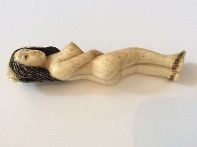 Rare 19th C. Chinese Medicine Doll, carved laying nude figure