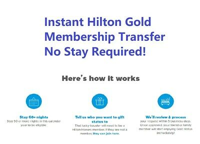 Hilton Gold invitation instant upgrade- No stay or challenge required!