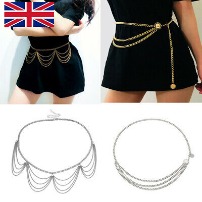 Women Metal Chain Links Belt High Waist Hip Gold Greek Coin Charm Waistband UK