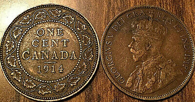 1914 Canada Large 1 Cent Coin Penny Vg-F Buy 1 Or More Its Free Shipping!