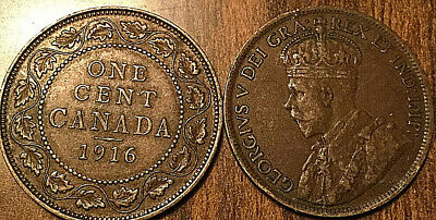 1916 Canada Large 1 Cent Coin Penny Vg-F Buy 1 Or More Its Free Shipping!