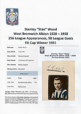 Football Autograph Stan Wood West Bromwich Albion 1928-1938 Rare Original Signed