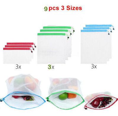 9Pcs Eco Friendly Reusable Mesh Produce Bags Superior Double Stitched Strength