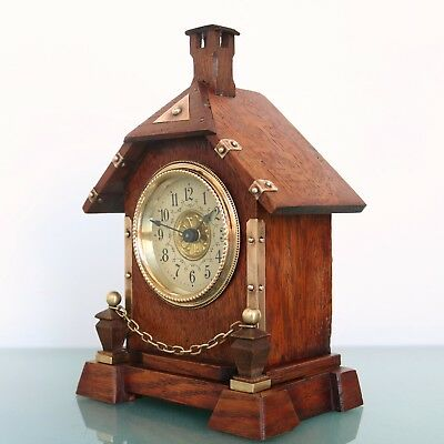 Antique German JUNGHANS Alarm Clock Mantel FULLY RESTORED! 1910s Cabin Shaped!