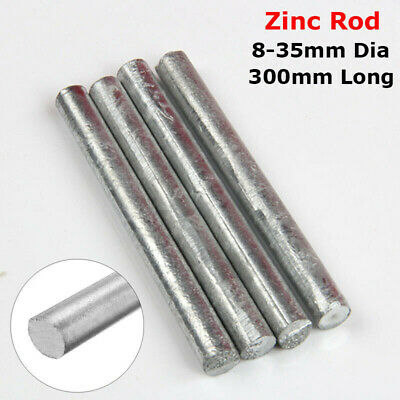 8mm-35mm High Purity Zinc Rod Anode Electroplating Solid Round Bar 300mm Long