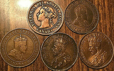 1901 1908 1910 1917 1918 Canada Large Cent Penny Lot Of 5 Coins