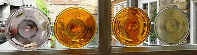 4 x New Old Stock Large 100mm Diameter Stained Glass Roundels