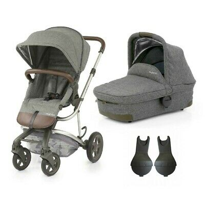 Babystyle Hybrid Edge Pushchair & Carrycot in Stonewash + Adapters -  from birth