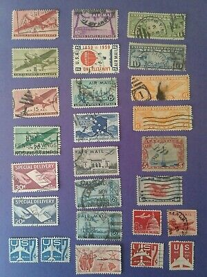 US Air Mail Stamps Mixed lot used  (lot of 26 Stamps)