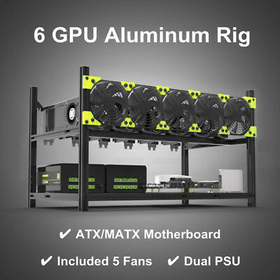 Professional 6GPU Aluminum Stackable Open Air Mining Case Miner Frame Rig 5 Fans