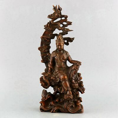 Collect Handwork Old Boxwood Carved Exorcism Guan Yin Precious Buddhist Statue