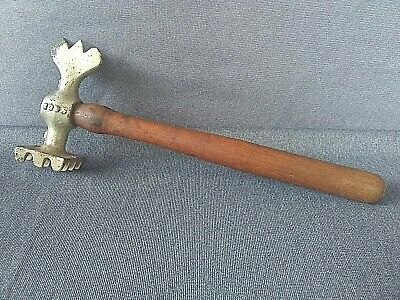 Antique Cast Iron Waffle Meat Tenderizer Hammer With Wood Handle.