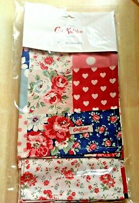 BNWT New Cath Kidston Set of 2 Cotton Tea Towels - Patchwork with Bramley Sprig