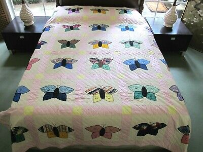 QUEEN Never Washed Vintage Hand Sewn All Cotton BUTTERFLY (MOTH) Applique Quilt