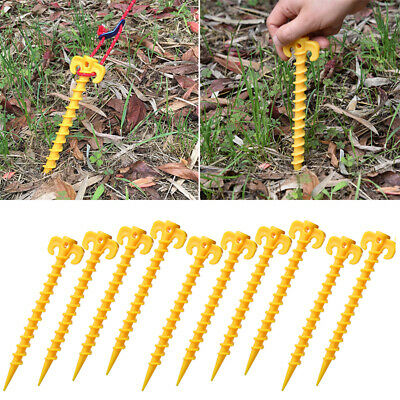 Hook Tent Pegs Outdoor Plastic Stakes Pins Hiking Yellow 10Pcs Convenient