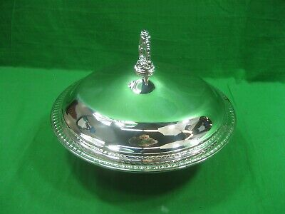 Vintage Covered Round Silver Plated Ornate Serving Bowl & Pyrex 1.5Qt Dish