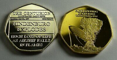 Pair of HINDENBURG EXPLODES 1937 NEWSPAPER Collectors Token/Medal. Silver, Gold