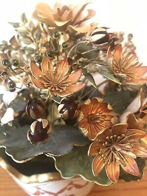 ITALIAN TOLE Vintage Ceramic Pot Gold Metal And Enamel Flowers Glass Beads