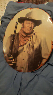 Vintage Retro ? Lovely Oval Wooden Picture Of John Wayne Unusual