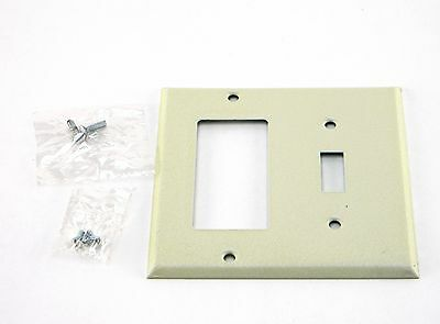 New Ivory Metal Wall Plate 2 Gang Decora Toggle Switch Cover With Screws