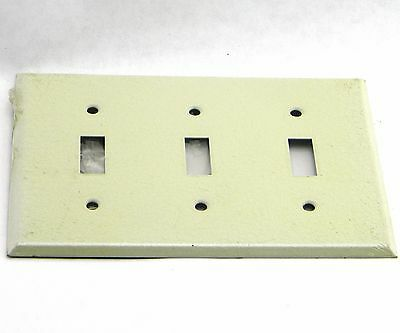 New Sierra Ivory Metal Wrinkle Wall Plate 3 Gang Toggle Switch Cover With Screws