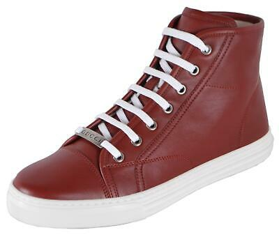 9dd843994 NEW Gucci Women's 423299 Red Miro Soft Leather High Top Sneakers Shoes 38.5  8.5