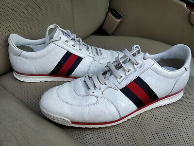 66544b9d0 Gucci GG Guccissima Leather Low Top Sneakers Shoes Trainers Web Stripe White