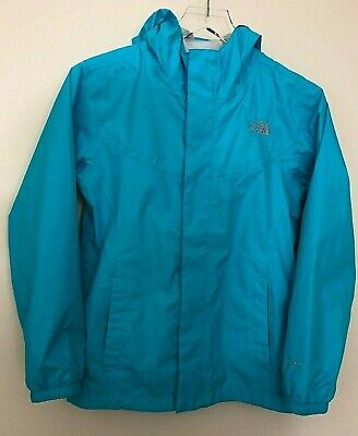 North Face Girls Rain Jacket Hyvent Blue Waterproof Hood Zip Front Large (14/16)