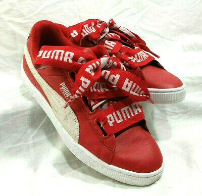 san francisco a5cb7 eb45a PUMA BASKET HEART Sneakers Red Wmns US 8 Shoes Low Top Leather Wide Laces  364082