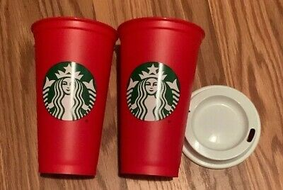 TWO STARBUCKS  2018 Holiday Cup Red Grande Reusable 16 oz Christmas W 2 Lids