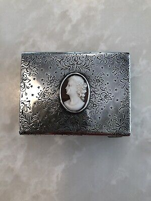 Antique Sterling Silver Cameo Powder Box Compact with Mirror Lipstick Holder