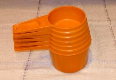 Vintage Tupperware 6 burnt orange Measuring Cups autumn harvest orange