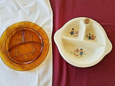 Excello Childs Food Warming Dish Dutch Children + Clear Amber Dish