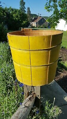 Antique vintage primitive wood bucket great dry yellow paint patina AAFA