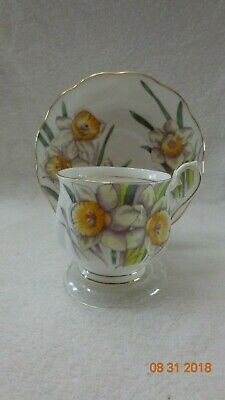 Royal Albert Tea Cup Saucer set Flower of the Month Daffodil colorful gold rim