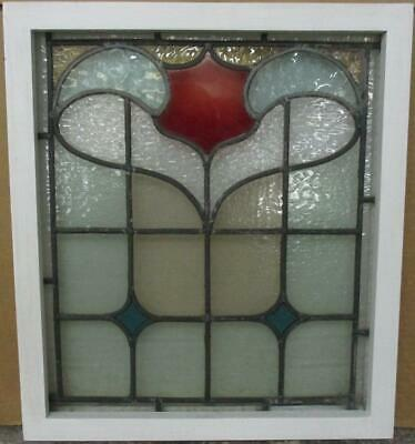 """OLD ENGLISH LEADED STAINED GLASS WINDOW Gorgeous Abstract Design 17.25"""" x 19.5"""""""