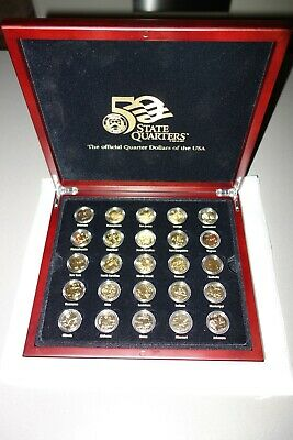 Boxed  Set Of Gold Plated Usa State  Quarter  Dollar  Coins