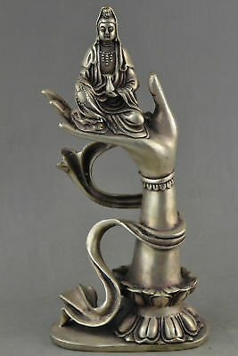 Collectible Decorated Old Tibet Silver Carved Kwan-yin Sit In Buddha Hand Status