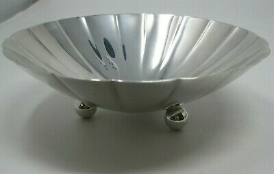 Antique Tiffany & Co Sterling Silver Scalloped Candy Dish Bowl Ball Foot 232.2g