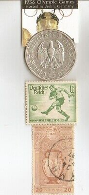 *1896-*greek Olympic stamp+*1936-*german Olympic stamp+SILVER  EAGLES(900%) coin