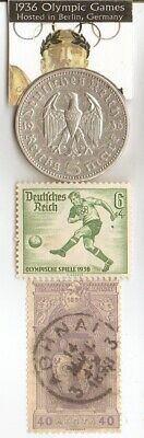*1896-*greek Olympic stamp+*1936-*german Olympic stamp+SILVER  EAGLE(.900%)coin
