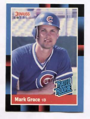 1987 Mark Grace Rated Rookie Baseball Card Donruss #40 - Chicago Cubs