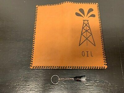 """Oil Field Leather Pipe Tally Book Cover 8.75"""" x 4"""" and drill bit keychain  ( H )"""