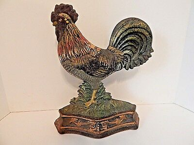 "Rustic Cast Iron Rooster 12"" Doorstop Primitive Metal Animal Decor Shelf"