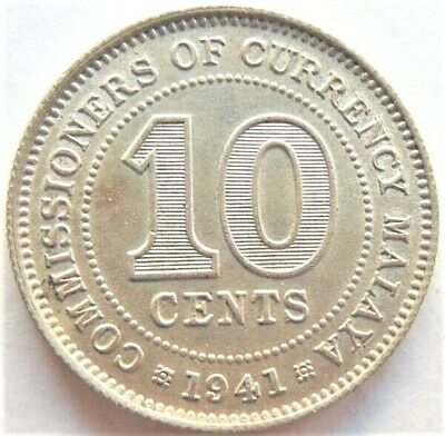1941 MALAYA, George VI, 10 CENTS grading About UNCIRCULATED.