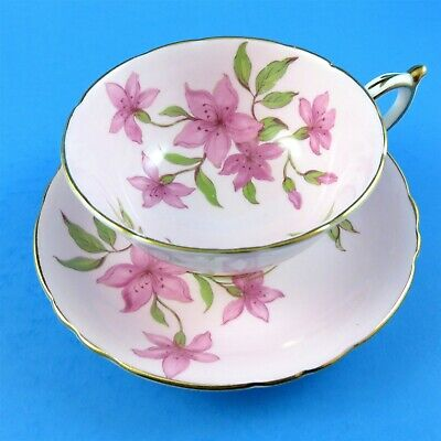 Pink Flowers on Pink Background Paragon Tea Cup and Saucer Set