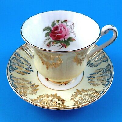 Light Yellow and Gold Garland with Pink Rose Paragon Tea Cup and Saucer Set