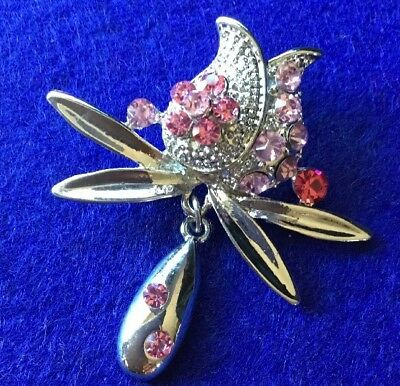 Retro Revival Silver Metal Pink Rhinestone Drop Tulip Brooch Pin