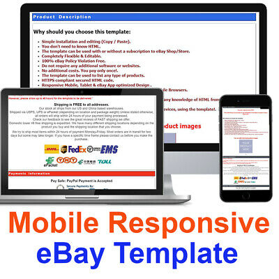 Ebay Listing Template Auction Mobile Responsive Professional Html Design 2019
